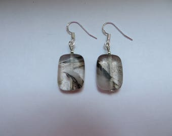 Silver rectangle watermalon stone crystal earrings