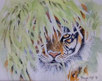 Original tiger painting, afordable art, indian art, india, animal pictures, paintings of animals, free postage, 10 x 12 white mount, artwork