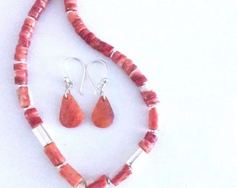 Spiny Oyster  & Sterling Silver Bead Necklace Earrings Set