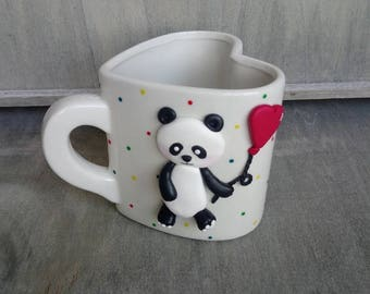 Love heart shaped panda mug