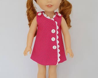 Pink pokadot dress fits Wellie Wisher dolls