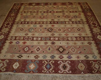 Old Turkish Sarkoy Kilim Rug, Soft Colours, Banded Design, Square Shape, Circa 1920.