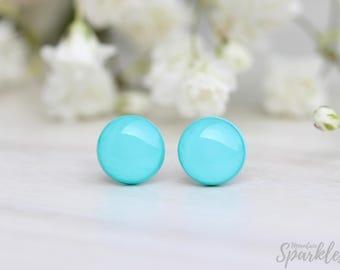Mint Stud Earrings, Titanium posts, Teenage girl gifts, Everyday earrings, Girls stud earrings, Simple Stud Earrings, Teal Gift for Daughter
