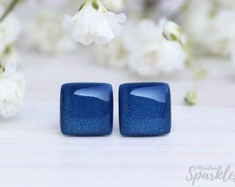 Navy blue stud earrings, Men stud earrings, Navy blue studs, Minimal earrings blue, Dark blue earrings, Everyday earrings navy, Simple studs