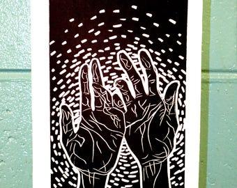 """Linocut Printmaking Hands """"Healing Hands"""""""