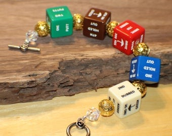 Vintage Golf Dice Bracelet -Green Red Brown Blue White Dice - Golf Game - Recycled - Game Piece Collection