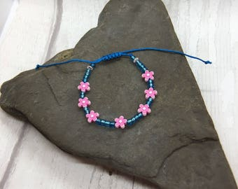 Pink flowers bracelet, friendship bracelet, surf bracelet, adjustable bracelet, girls gift