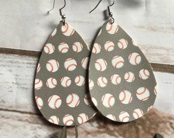 Baseball Faux Leather Teardrop Leather Earrings