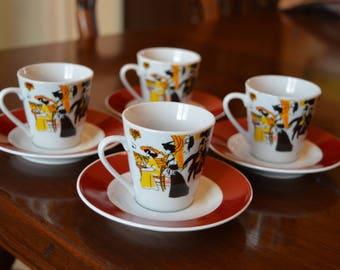 Maxim's de Paris set of four expresso coffee cups and saucers