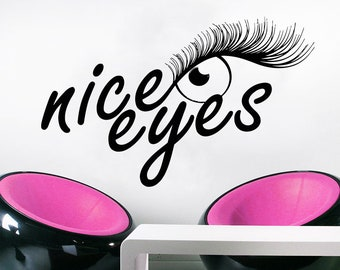 Wall Decal Window Sticker Beauty Salon Woman Face Eyelashes Lashes Eyebrows Brows t58