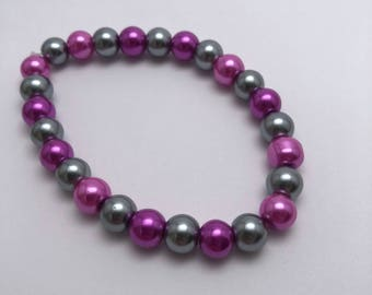 Pink and grey beaded bracelet