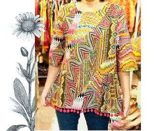 Indian printed top with pon pon