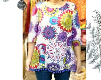 Indian print top with pon pon