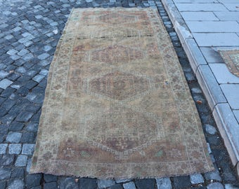 Organic soft wool rug Free Shipping 3.9 x 8.7 ft. handknotted Turkish rug, rustic runner rug, bohemian area rug, hall design rug,  MB305