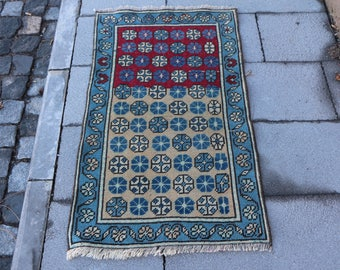 Floral design turkish rug Free Shipping 2.1 x 3.6 ft. pastel color rug, handknotted low pile rug, decorative area rug, nomadic rug, MB307