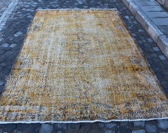 Faded color yellow color overdyed rug Free Shipping 6.1 x 9.2 ft. pale color rug, hall rug, handknotted anatolian rug, wool rug MB318