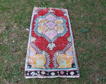 decorative turkish rug Free Shipping  2.2 x 4.3 ft. handknotted rug faded color tradational anatolian rug decorative hall rug MB413