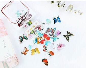 Set of 60 stickers butterflies