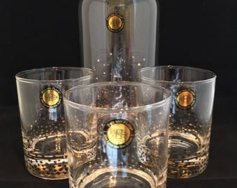 Fitz and Floyd Confetti Decanter and Glass Set