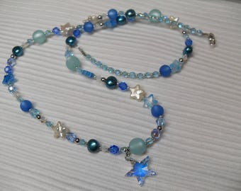 Blue Star necklace, freshwater pearls, Swarovski elements, long, glitter and sparkle, 925 sterling silver Clasp