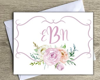 Personalized Initial Notecards, notecards with envelope, monogram notecards, thank you notes, personalized thank you notes