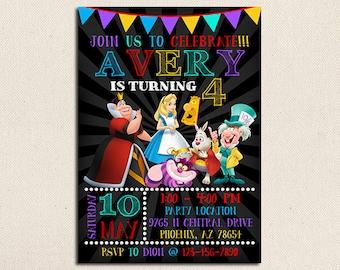 Alice in Wonderland Invitation, Alice in Wonderland Party, Alice in Wonderland Printables, Alice in Wonderland Birthday, Alice in Wonderland
