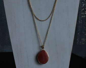 Gold Chain with Red Pendant