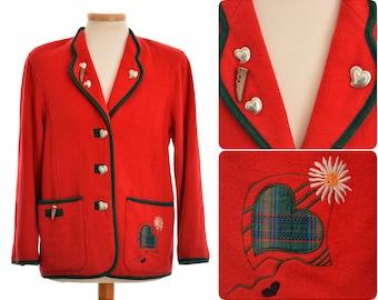 Salzburger loden look wool blend Trachten JACKET blazer by H. Moser / womens size 36 - Small / Austrian folk clothing / red colour