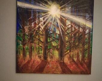Original Acrylic Painting on canvas. 100% hand-made. Contemporary wall art. (AL1) Autumn Light