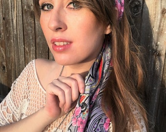 Silver Pink and Red Vintage Satin Scarf / Vintage Clothing / Vintage Satin Head Scarves for Women / Boho Style / Hippie Chic / Retro Fashion