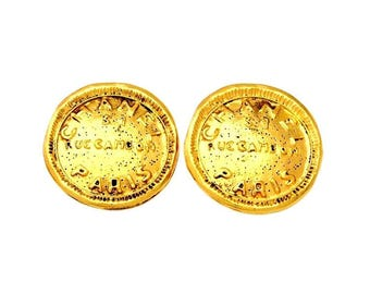 Authentic Vintage Chanel earrings Rue Cambon medal ea1325