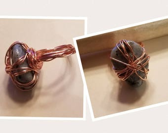 Howlite Copper Ring