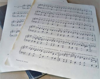 Bundle of 10 1930s Music Sheets. Double sided, Latin text perfect for paper craft, scrap booking and card making