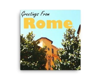 Greetings From Rome   Vintage Travel Sign on Canvas   Travel Wall Art