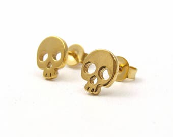 Stainless steel golden skulls stud earrings