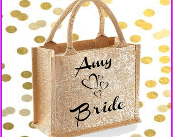 Mini gold shimmer jute bag with personalised text and design for wedding party, bride, bridesmaid, shopper bag,