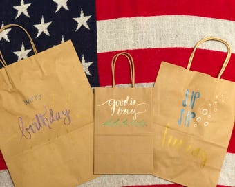 Handwritten Calligraphy Gift/Party Bags - brown