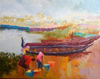 Kasenselo Shoreline,African art,African painting,Acrylics on canvas painting,Hand painting.