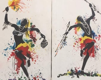 Great dance,African art,African painting,Acrylics on canvas painting,Hand painting.