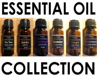 Essential Oils Set of 6 Teatree,Jojoba,Patchouli,Jasmine,Ginger,Rosemary Great Gift