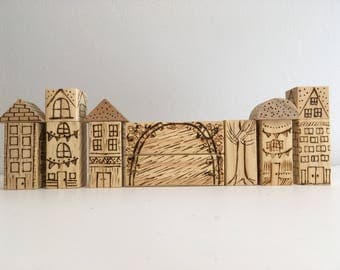 Burned Wood Buildings for Play with Trains or Cars