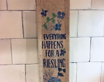 Burlap wine bag.