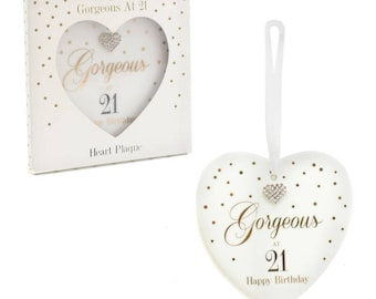 Gorgeous at 21 Happy Birthday Heart Plaque.
