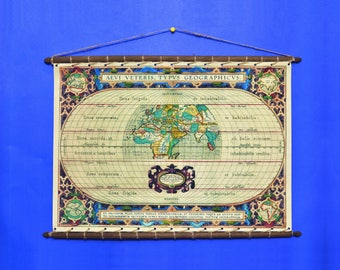 Ancient Antique Old Rare World Map Abraham Ortelius 1572, Print On 100% Cotton Canvas, swen to a Round Wooden Hanger Frame with Vintage Rope