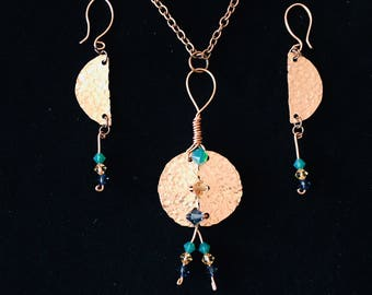 Hammered Copper Necklace and Earrings