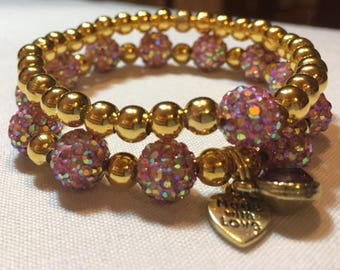 Pair of Handmade Bracelets-Made with 10 mm Pink AB Pave Beaded Bracelet with alternating 6 mm Gold plated metal beads