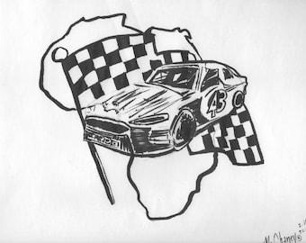 Daytona Darrell Wallace Nascar Tribute Africa Brush Pen Drawing
