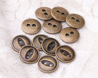 sweater shirt sewing button 10pcs 11mm 2 holes tiny round bronze button back is like an eye patch