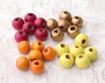 10*8mm small beads wood beads 20pcs round wooden beads orange gold yellow purple 4 color in optional