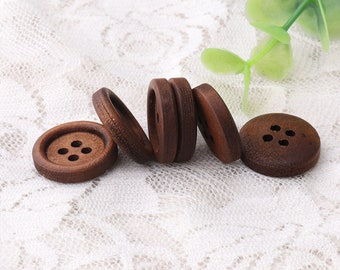 dark brown wood buttons 10pcs 18mm in diameter 4mm thickness 4 holes sewing buttons round wooded buttons raised edge buttons